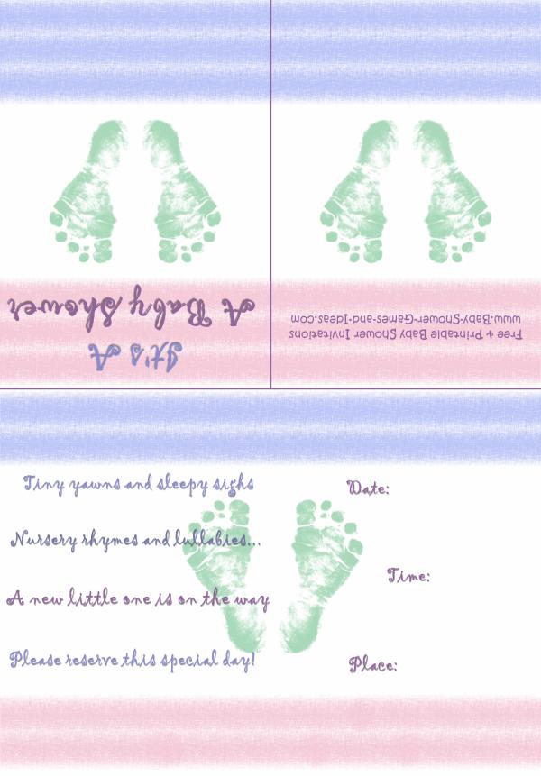 Baby Footprint Shower Invitation 1B