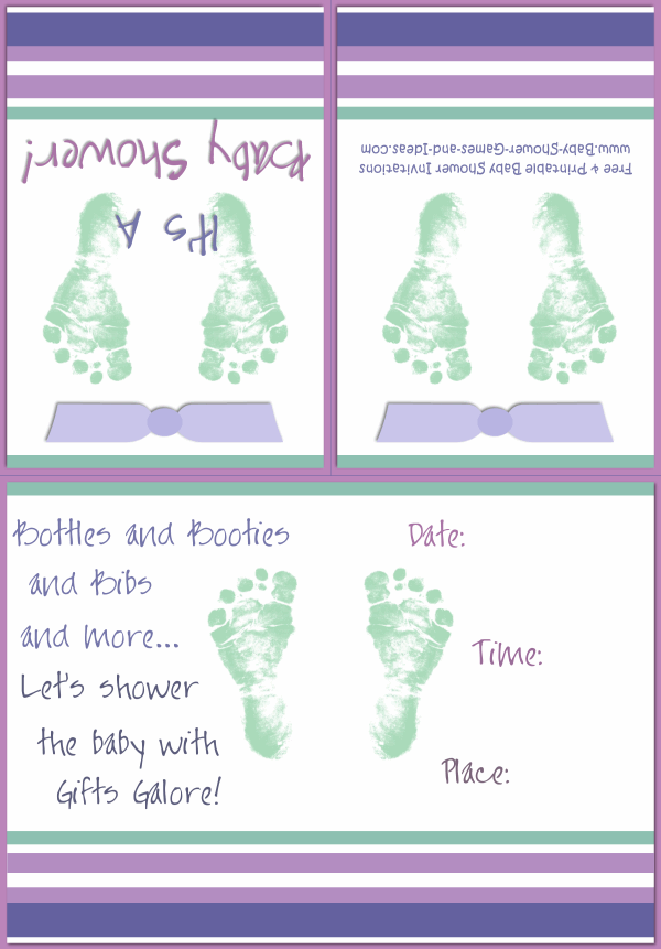 Baby Footprint Shower Invitation 2A