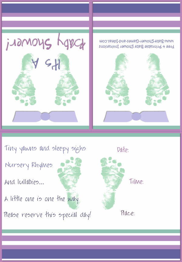 Baby Footprint Shower Invitation 2B