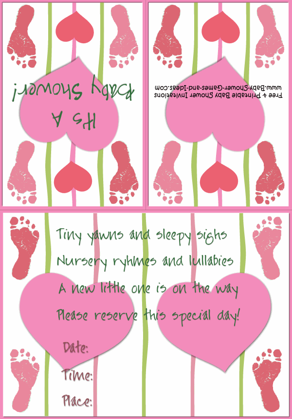 Baby Footprint Shower Invitation 3B