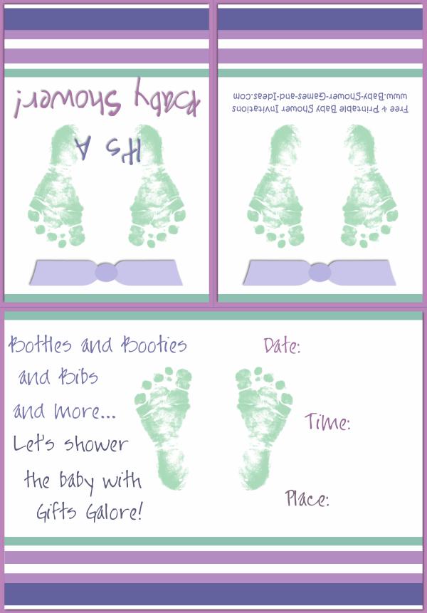 Baby Footprint Shower Invitation 2A