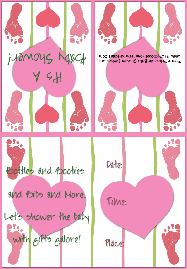Baby Footprint Shower Invitation 3A